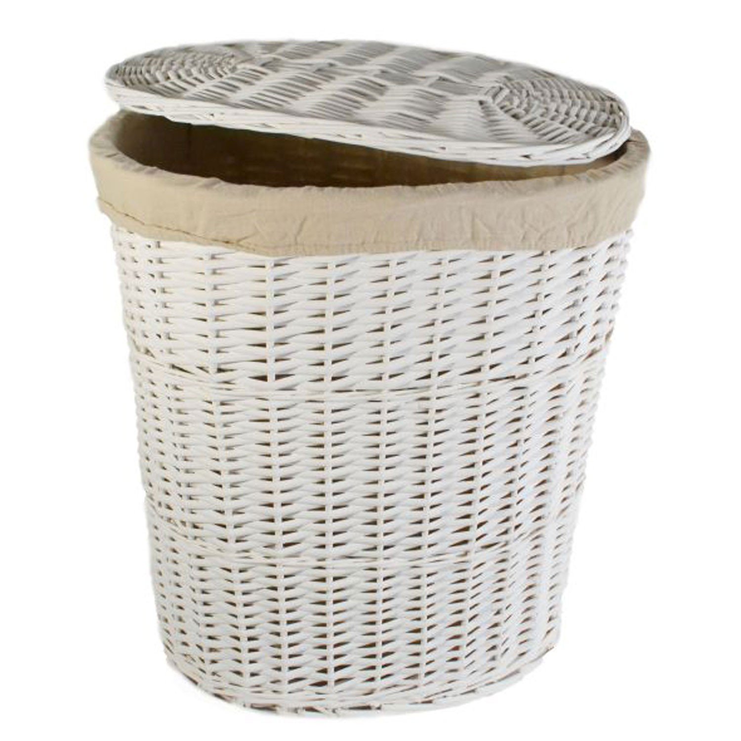 Oval Willow Large Laundry Basket White