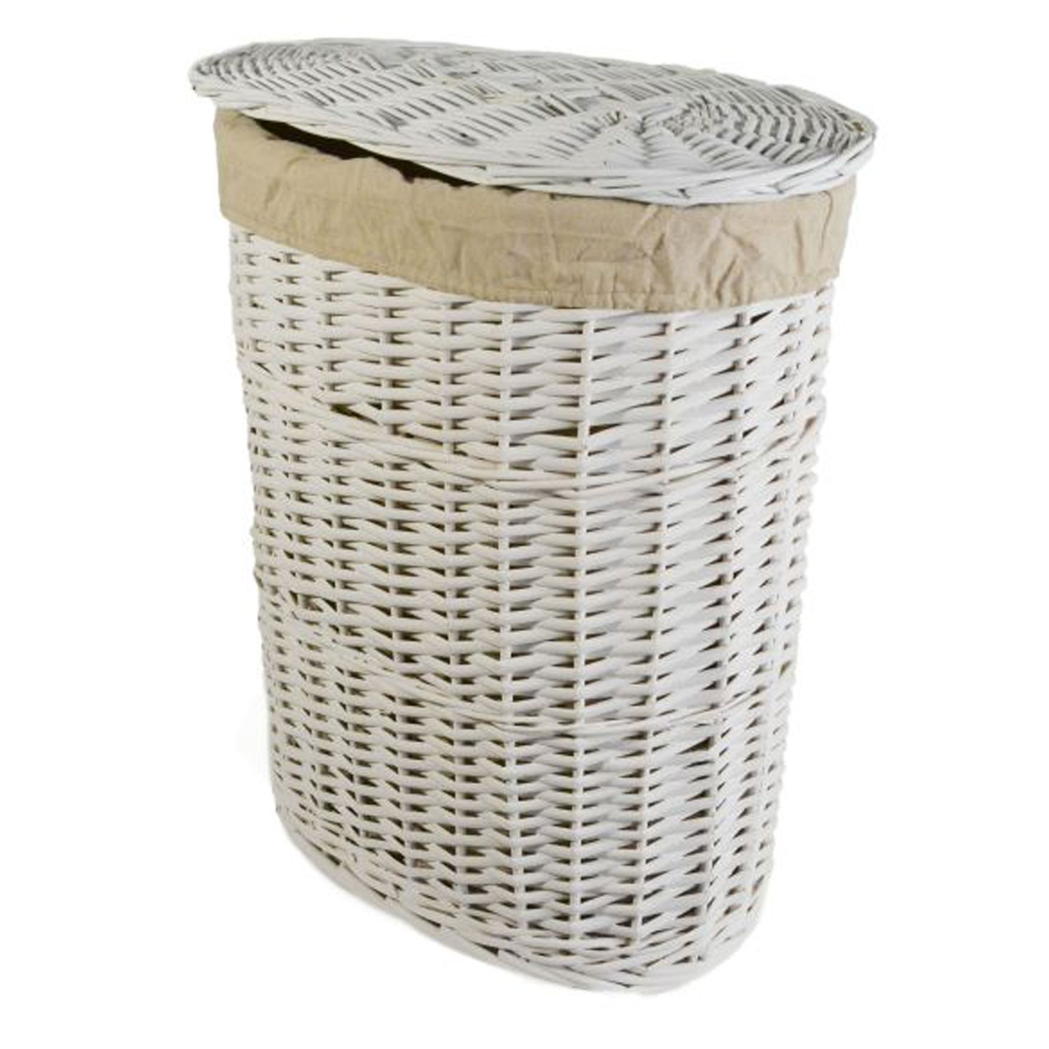 Oval Willow Small Laundry Basket White