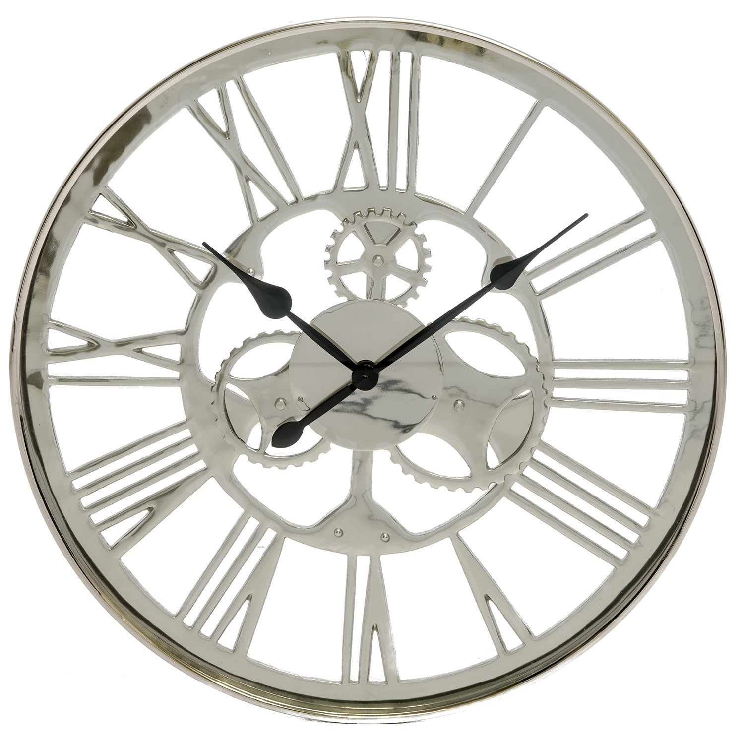 Westminster Artistic Gears Wall Clock Silver