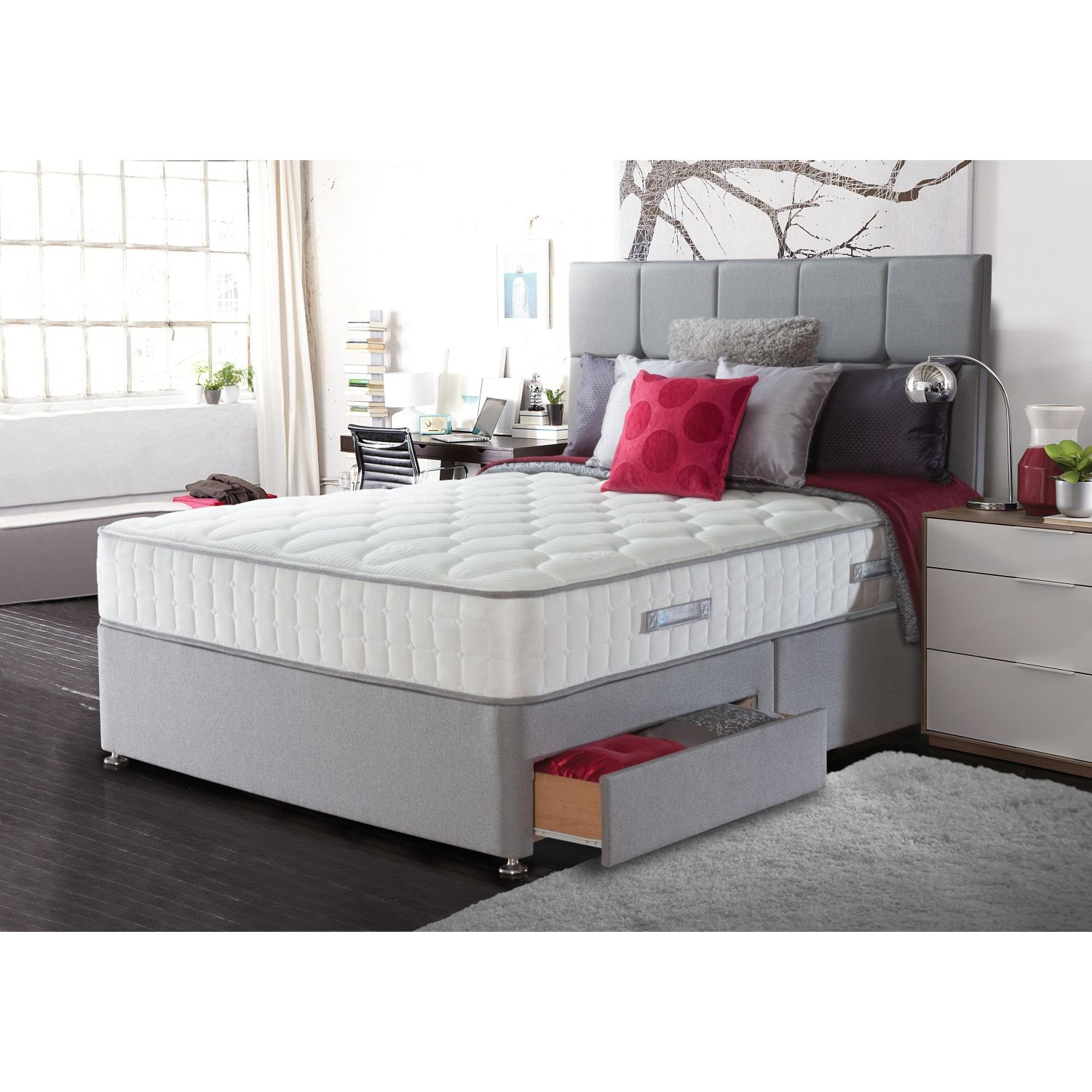 Sealy chloe four drawer divan set double for Double divan bed with four drawers