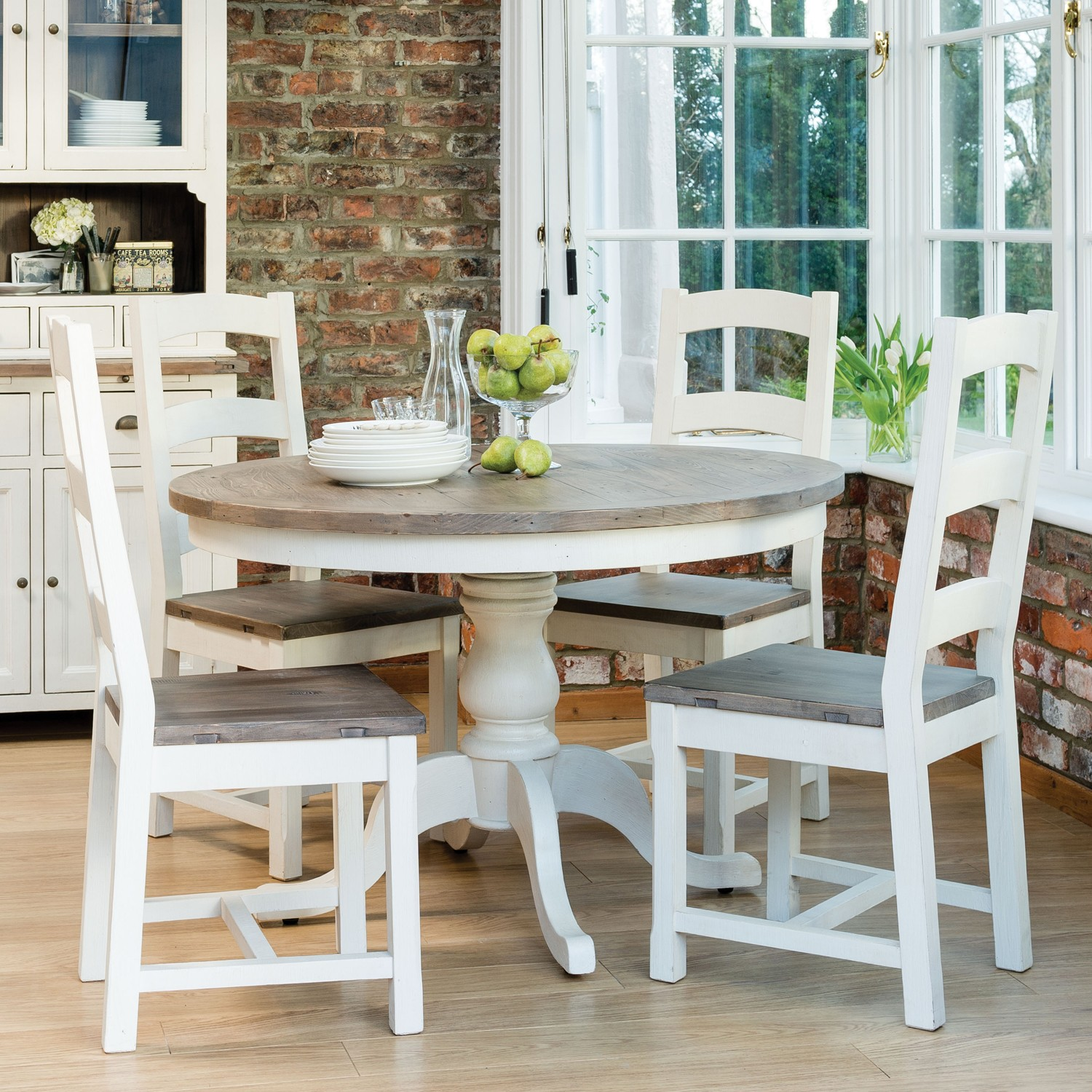 Cotswold circular table four wooden chairs dining set for Kitchen breakfast table sets