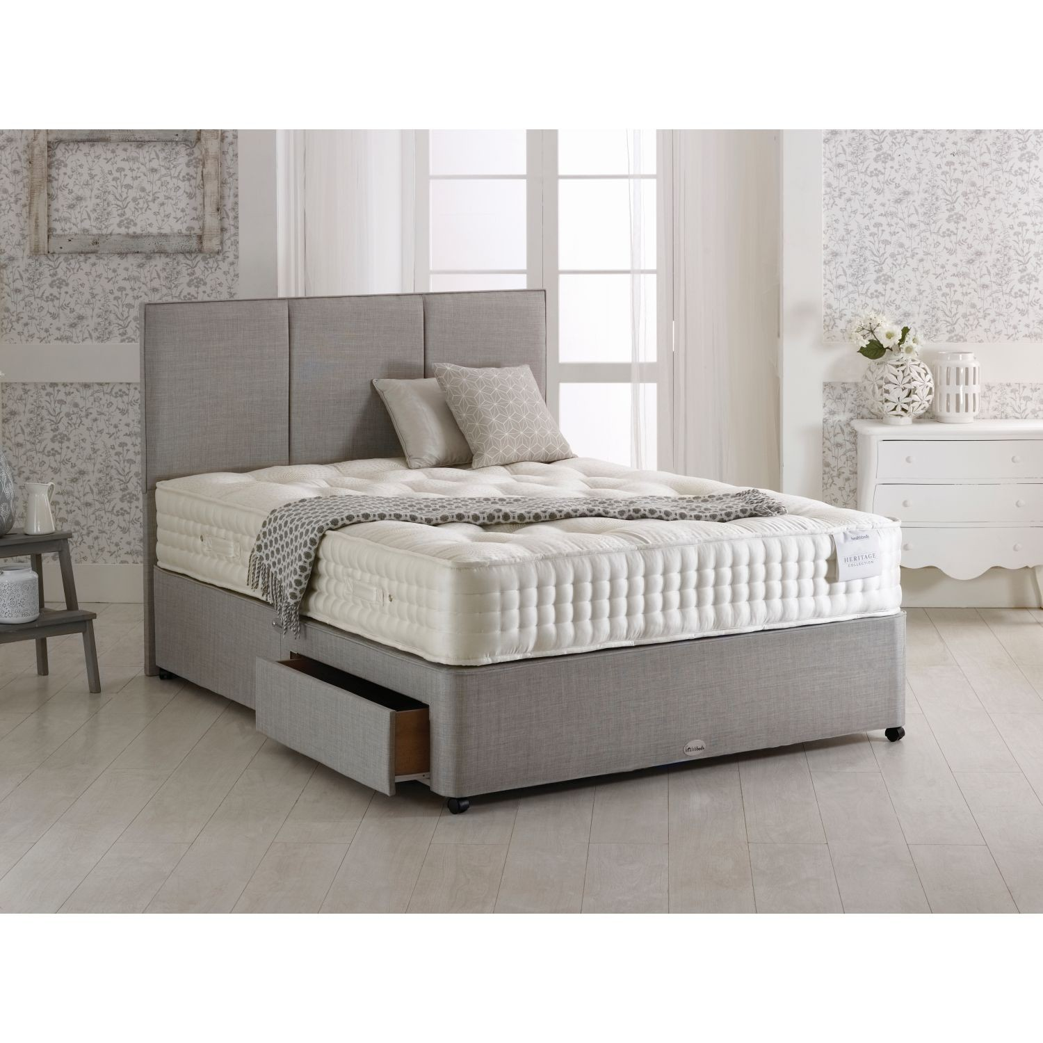 Healthbeds diamond two drawer divan set double for 2 drawer double divan bed