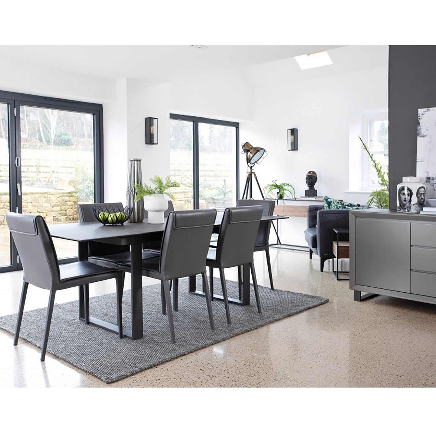 Paxton Extending Table And Six Chairs Dining Set Dark Grey
