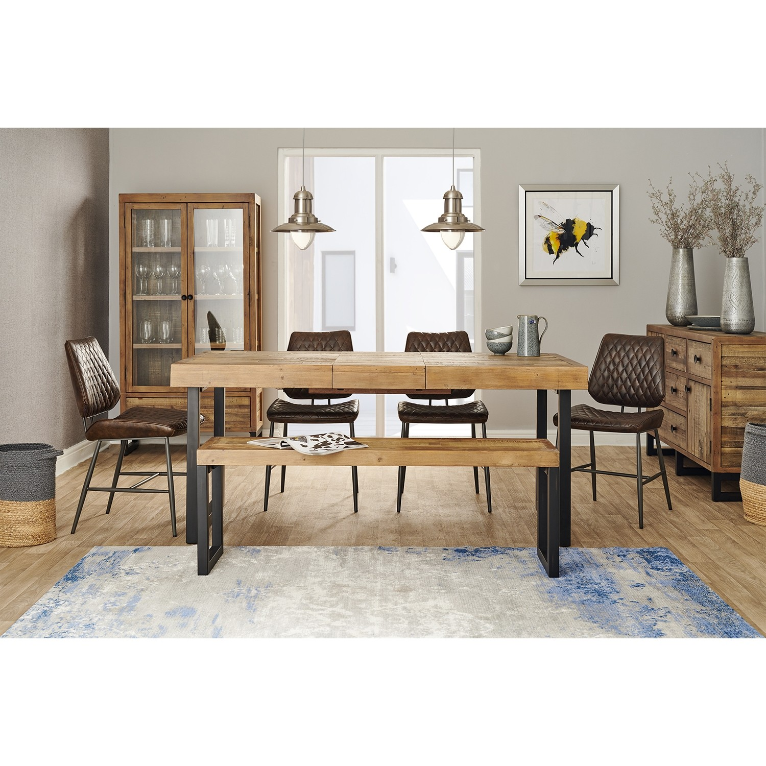 Casa Stockholm Table Bench 4 Chair Dining Set