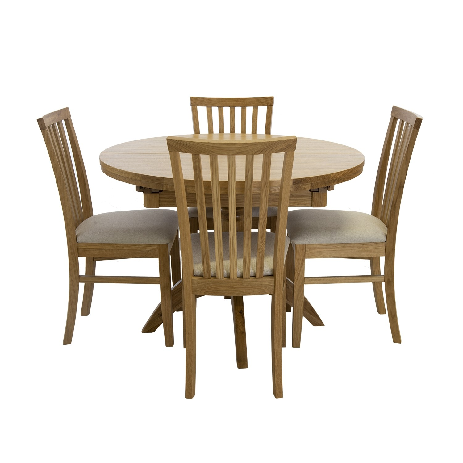 Marseille Round Extending Table 4 Chairs Dining Set
