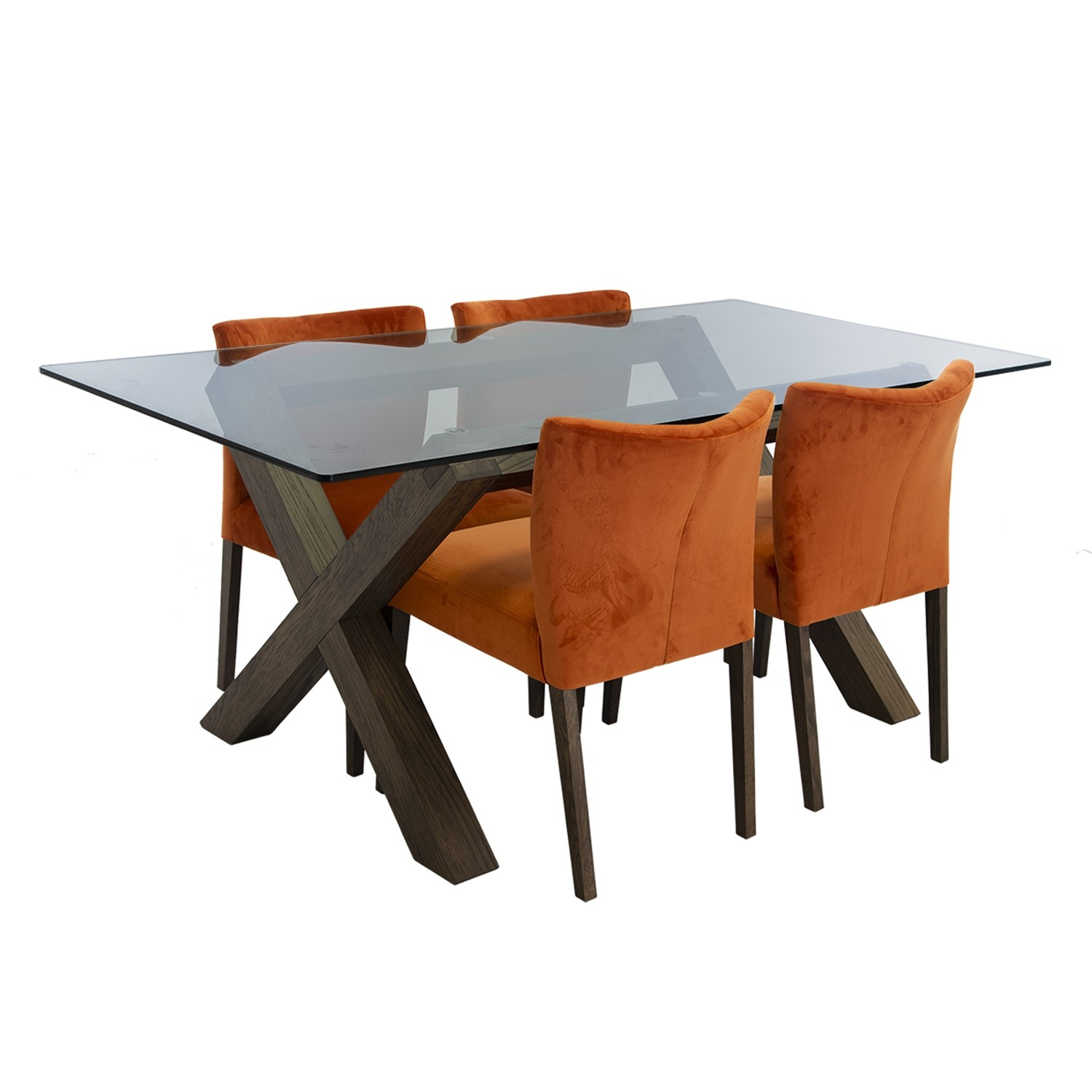 Toledo Glass Top Table And Four Chairs Dining Set