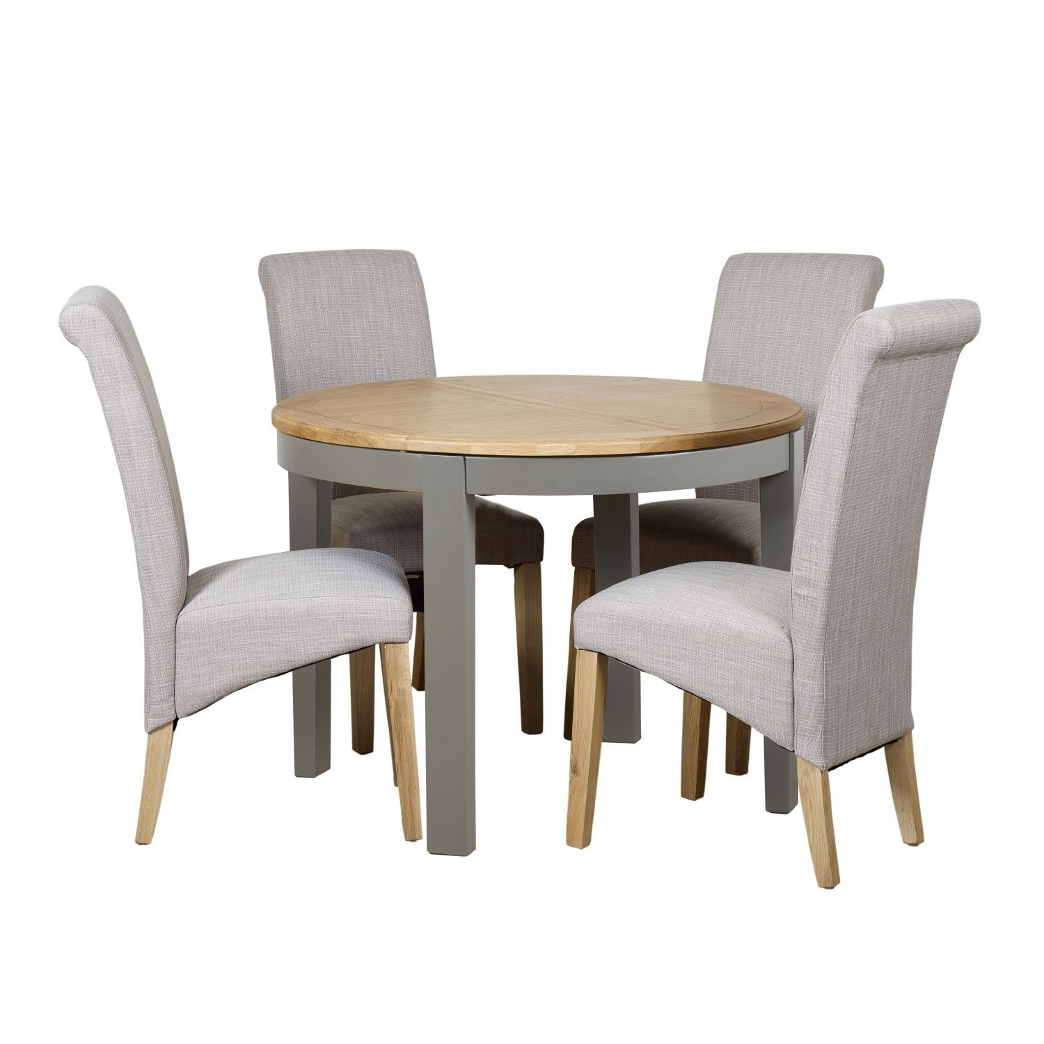 Waterford Round Extending Table & Four Scroll Chairs Dining Set
