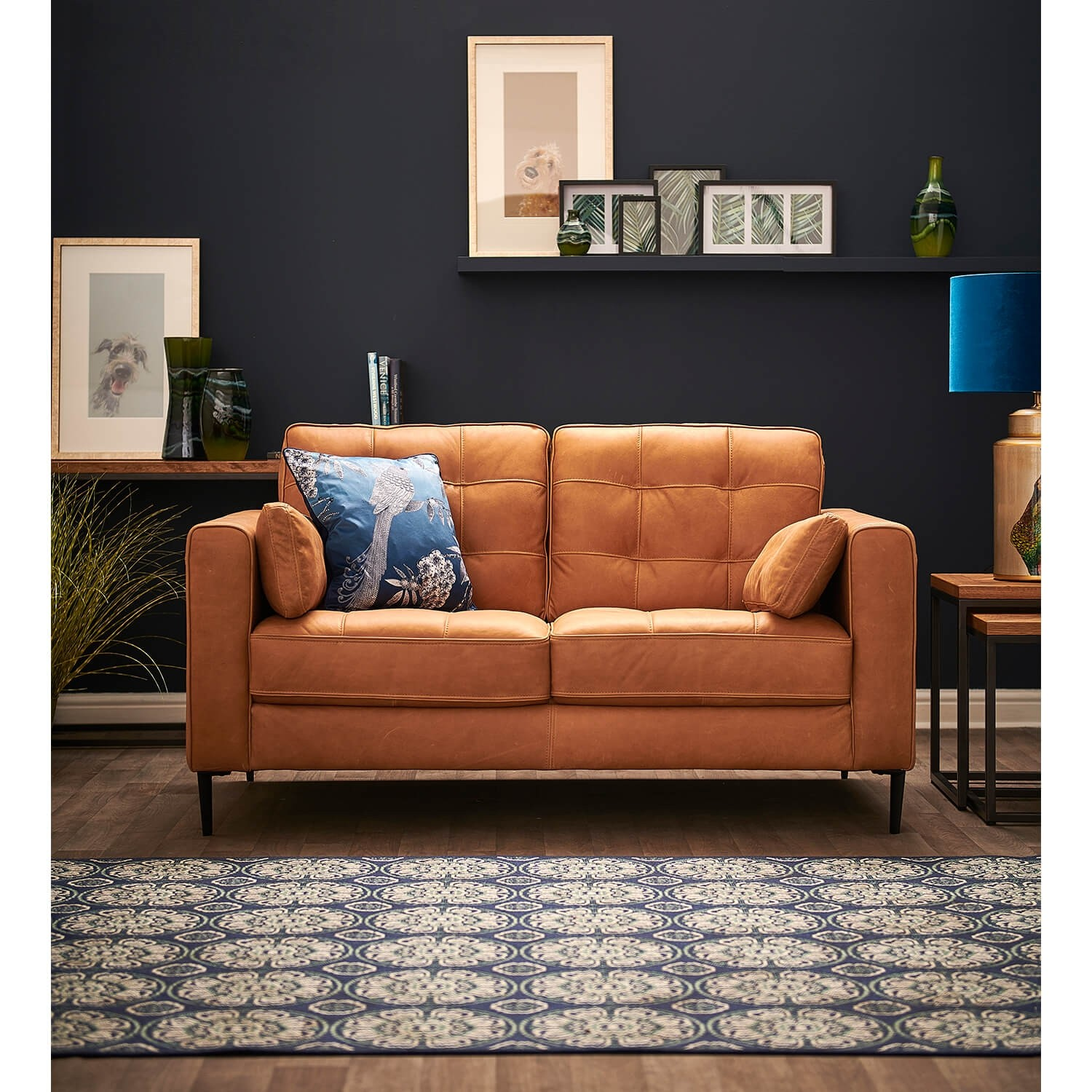 Picture of: Rupert Two Seater Leather Sofa Brown