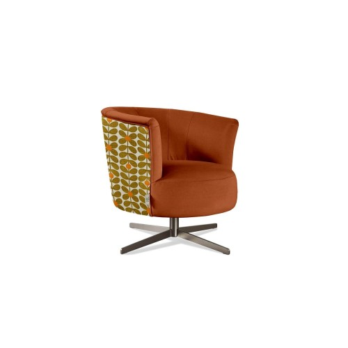 Orla Kiely Lily Swivel Chair Chair, Bandon Orange