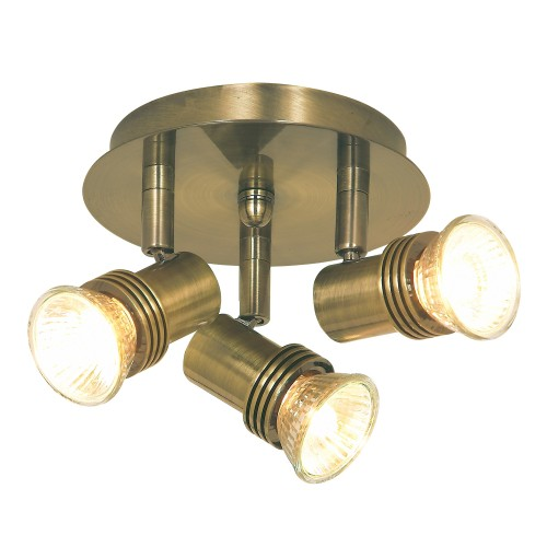 Decco 3-Light Spots, Antique Brass