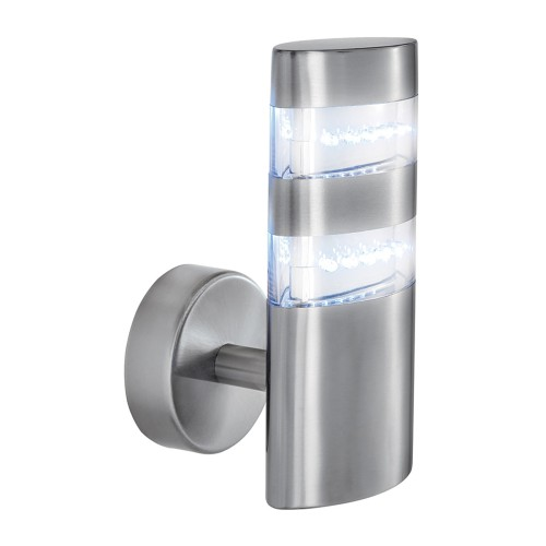 Oval Outdoor Wall light, Satin Silver