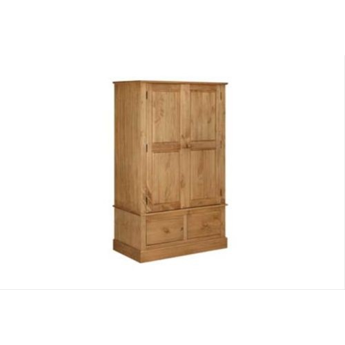 Cotswold 2 Door, 2 Drawer Wide Wardrobe, Waxed Pine