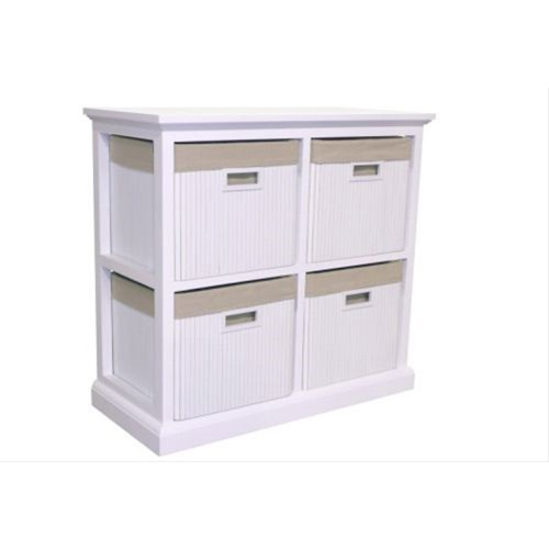 Casa 4 Drawer Wide Bamboo Unit, White