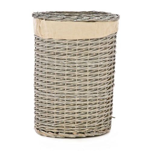 Casa Grey Round Willow Waste Bin