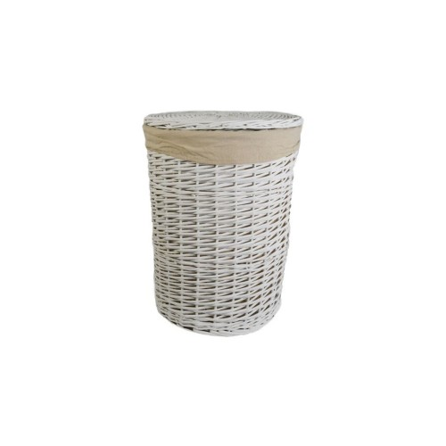 Casa Willow Round Basket Large, White