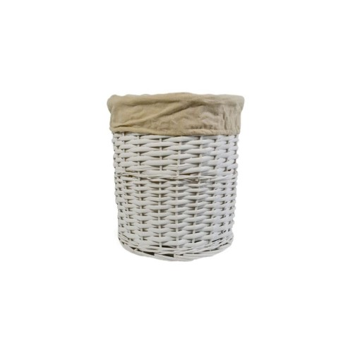Casa Willow Round Waste Bin, White