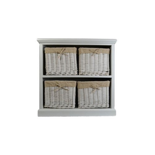 Casa Wood and Willow 4 Drawer Unit, White