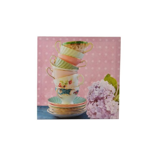 Casa Vintage Pink Teacups Canvas