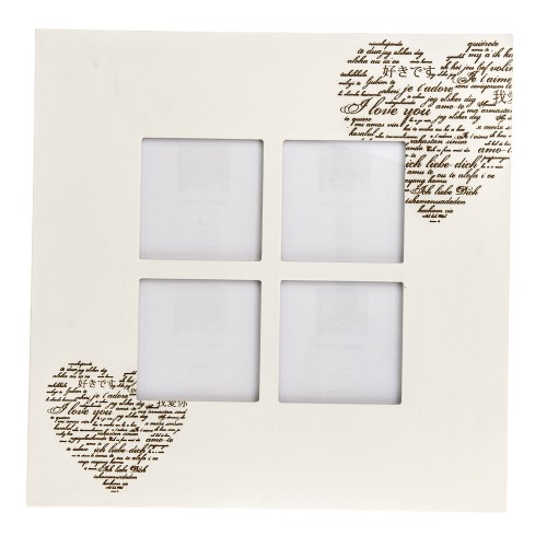 Casa Heart Picture Frame 4 4x6, White Wash