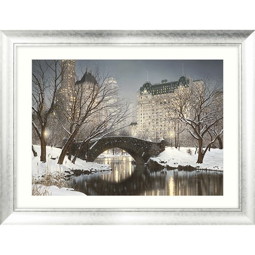 Rod Chase Central Park Winter Framed Art, Grey