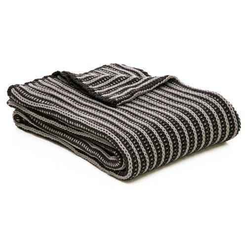 Casa Two Tone Tinke Throw, Charcoal