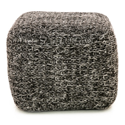 Casa Two Tone Tinke Pouffe, Charcoal