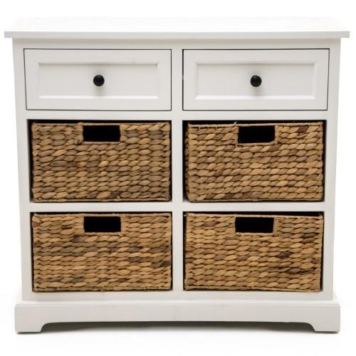 Casa 2 Drawer/4 Basket Unit, White/natural