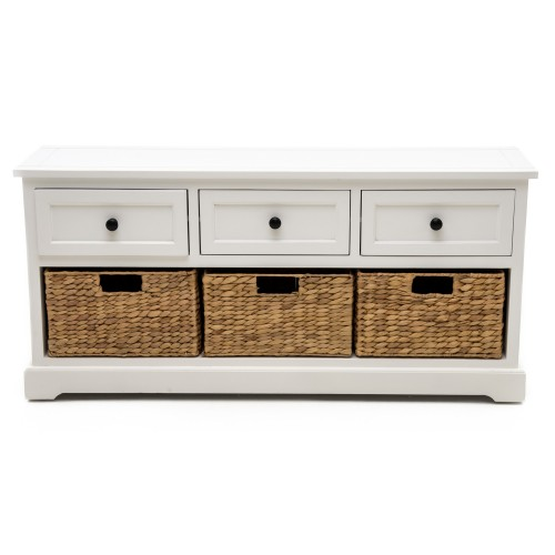 Casa 3 Drawer/3 Basket Unit, White/natural
