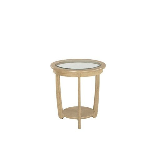 Nathan Furniture Limited Shades Glass Top Lamp Table Lamptable, Oak