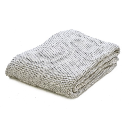 Casa Moss Stitch Throw 125x150, Grey Marl