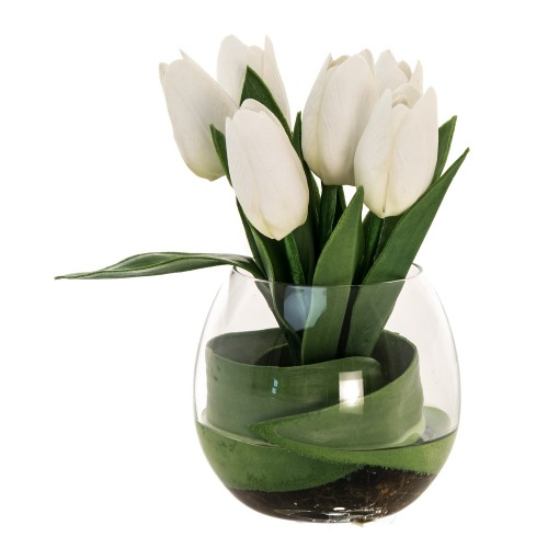 Casa Tulip Arrangement In Glass, Cream Green