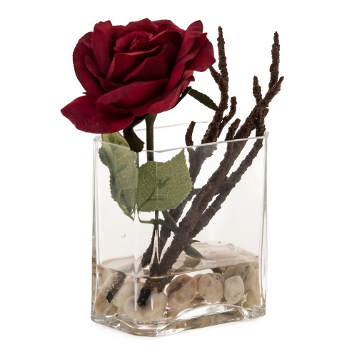 Casa Rose Arrangement In Glass, Red