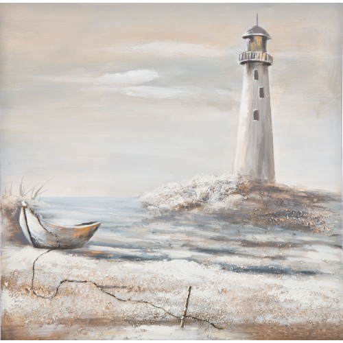 Casa Lighthouse Hand Painted Canvas, White