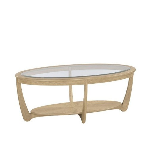 Nathan Shades Oak Oval Glass Top Coffee Table
