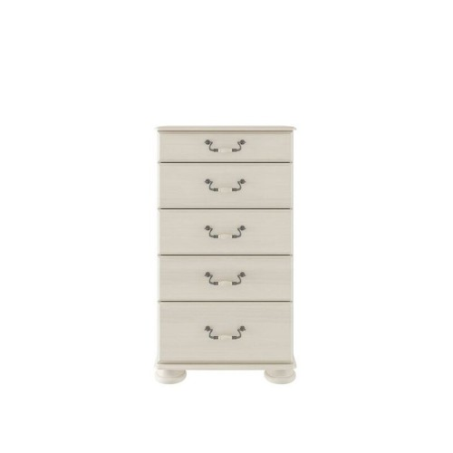 Casa Chloe 5 Drawer Chest 5 Draw, Antique Cream
