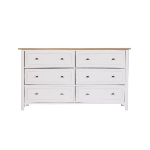 Casa St Ives 6 Drawer Wide Chest 6 Draw, Soft White/oak