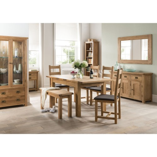 Casa Seville Table,4 Chairs& Bench Dining Set, Solid Oak
