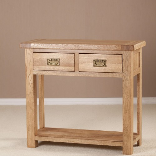 Seville Two Drawer Console Table, Oak