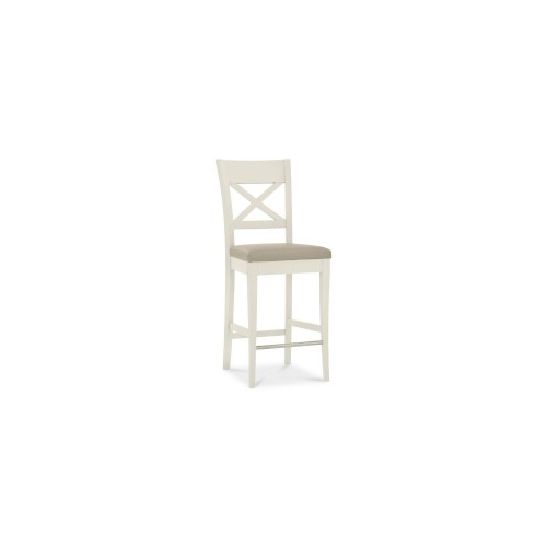Casa Burford X Back Bar Stool, Ivory Bonded