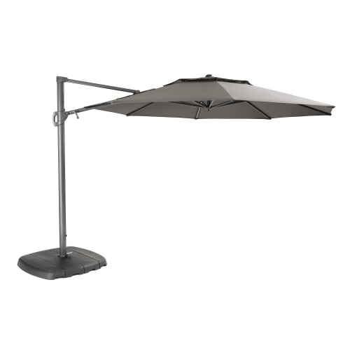 Kettler Free Arm LED Light Parasol with Bluetooth Wireless Speaker, 3.3m, Grey/T