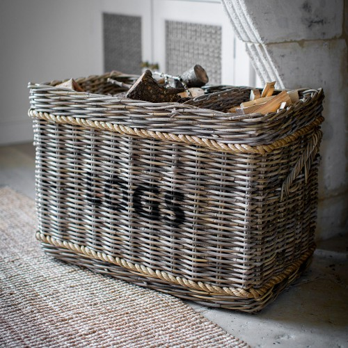 Garden Trading Log Basket With Rope, Rattan