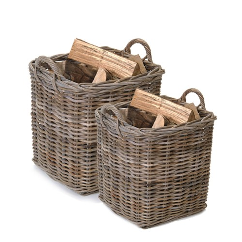 Garden Trading Set Of 2 Square Baskets, Rattan