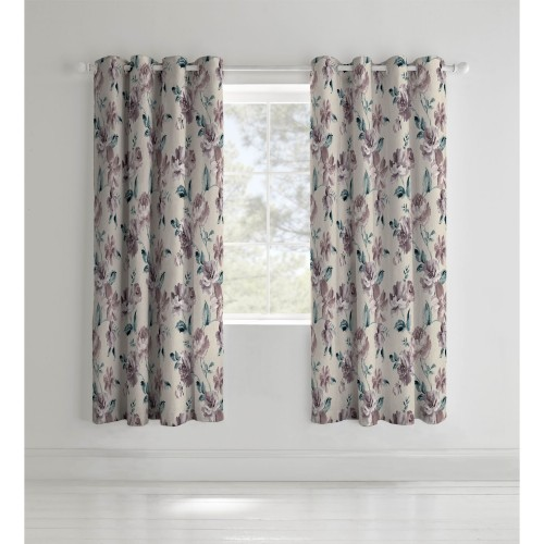 Catherine Lansfield Painted Floral Curtain, 168cm x 183cm, Plum