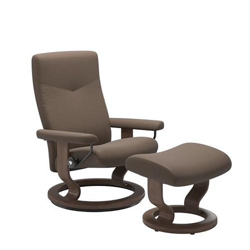 Stressless Dover Chair And Footstool Chair, Small, Batick Mole/walnut