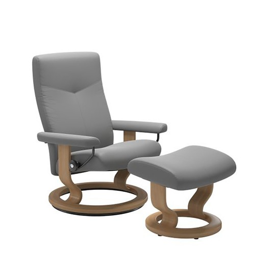 Stressless Dover Chair And Footstool, Medoium, Batick Wild Dove/oak