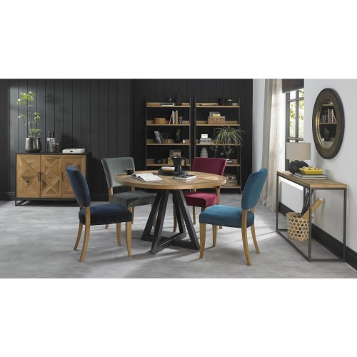 Casa Finsbury Circular Table + 4 Chairs, Rustic Oak & Peppercorn
