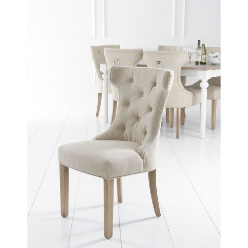 Casa Wing Button Metal Ring Chair x2, Beige