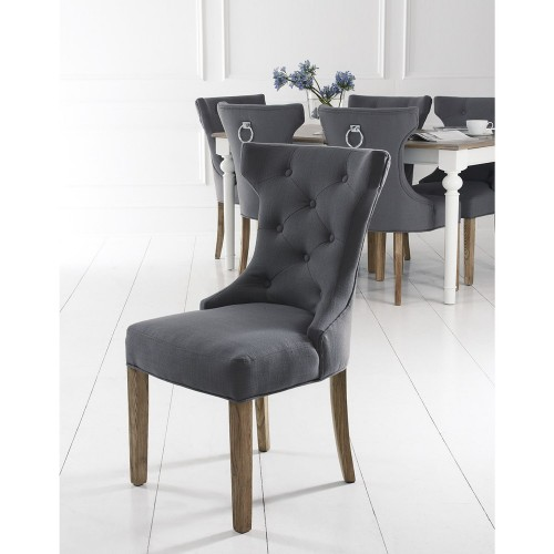 Casa Wing Button Metal Ring Chair x 2, Grey