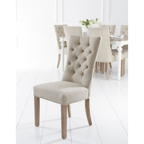 Casa Curved Button Back Chair x 2, Beige