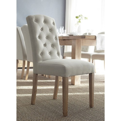 Casa Button Back Upholstered Chair x 2, Beige